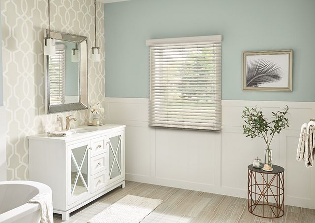 "2"" Faux Wood Blinds with Cordless Lift/Wand Tilt: Greystone 5174 with 3 ¼"" Eloquence Valance"