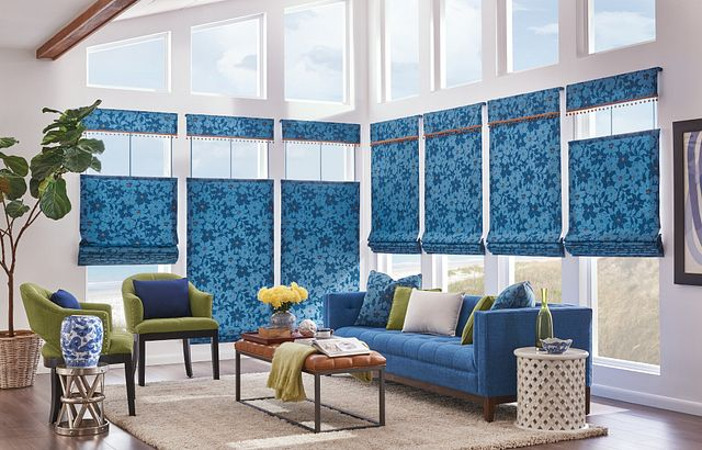 "Bali HIC Tailored Roman Shades in Seamless Style with Bottom Up/Top Down Cord Lift and Valance: Maverick, Bayshore 6871 with 1 ½"" Mingled Globe Fringe: Camel"
