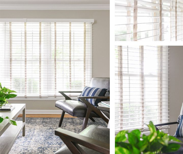 Collaged photos of the living room and Bali Wood Blinds