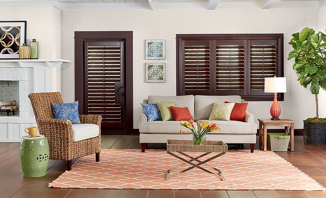 """Windows: 3½"""" Wood Shutters with Signature Z-Frame, Double Mouse Hole, and Standard Tilt: Teriyaki 1694 Door: 3½"""" Wood French Door Shutters with Curved Cutout, Colonial L-Frame, Double Mouse Hole, and Standard Tilt: Teriyaki 1694"""