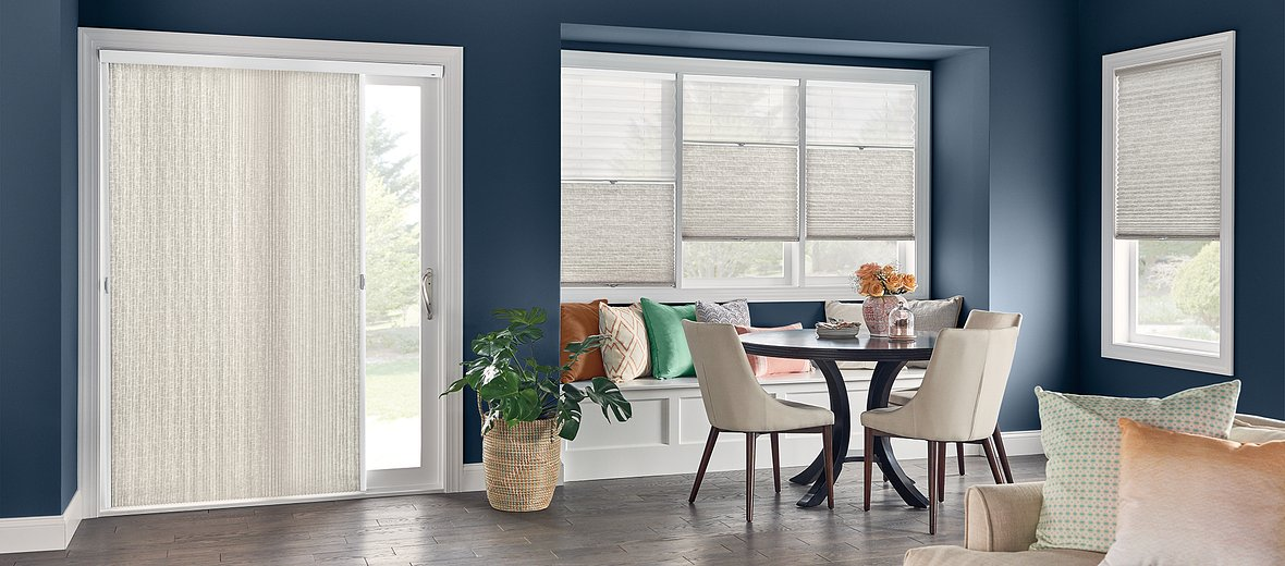 """Windows: Combo Shade with Cordless Lift: 3/4"""" Single Cell Shades: Impresario, Sandstone Gray 0590 (bottom) and Intuition, White Blossom 5800 (top)  Door: 3/4"""" Single Cell VertiCell Cellular Shade: Impresario, Sandstone Gray 0590"""