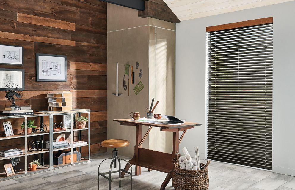 "2"" Heritage Aluminum Blind with Cord Lift/Wand Tilt: Raw Umber 006 and 3frac12;"" Modern Wood Valance: Regal Oak 1038"