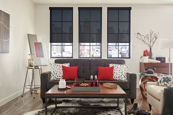 Solar Shades with Motorized Lift: Feedback 5%, Mineral Point 48308 with Fascia: Black 939