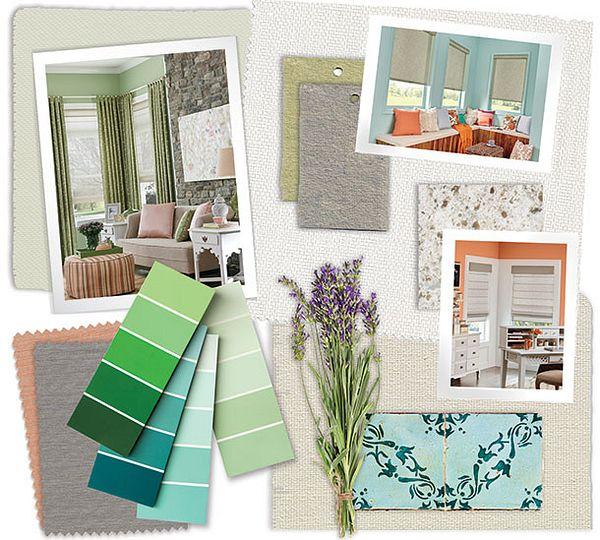 A collaged inspiration board of fabrics, colors and images