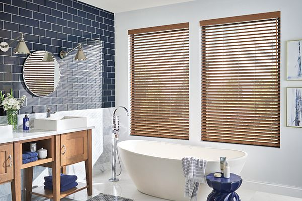 """2"""" Premium Faux Wood Blinds with Cordless Lift/Wand Tilt: Majestic Walnut 2041 with 3 ¼"""" Eloquence Valance"""