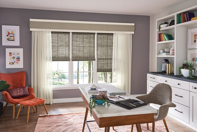 Office room featuring Bali Natural Shades in Old Style Roman with Cordless Lift