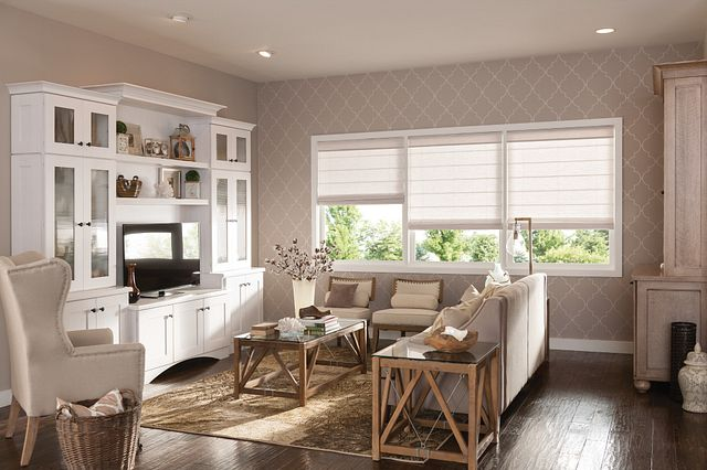 "Flat Roman Shades with 6"" Valance and Cordless Lift: Dunes, Pearl 3451"