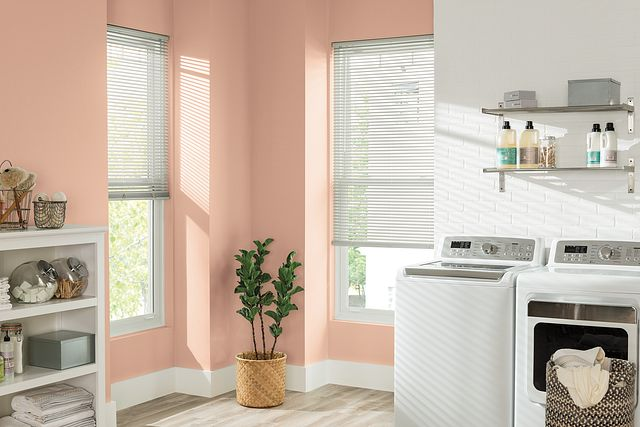 Bali Essentials Horizontal Vinyl Laundry Room redesign, value, horizontal vinyl blinds, gallery Shadowlight Studios
