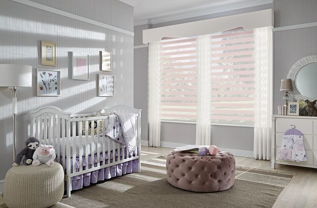 Layered Shades with Motorized Lift: Washed Sands, Hazy Lilac 4257; Drapery with Inverted Pleats: Jerauld, Palatial 4021; Contour Fabric-Wrapped Cornice Gibson, Blizzard 5200