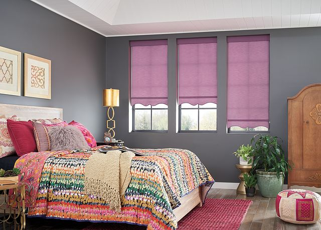 Roller Shades with Continuous-Loop Lift: Shoreline, Lilac 02608 with Contour Valance, Colonial Scallop, and Accent Gimp: Rock Gray 399