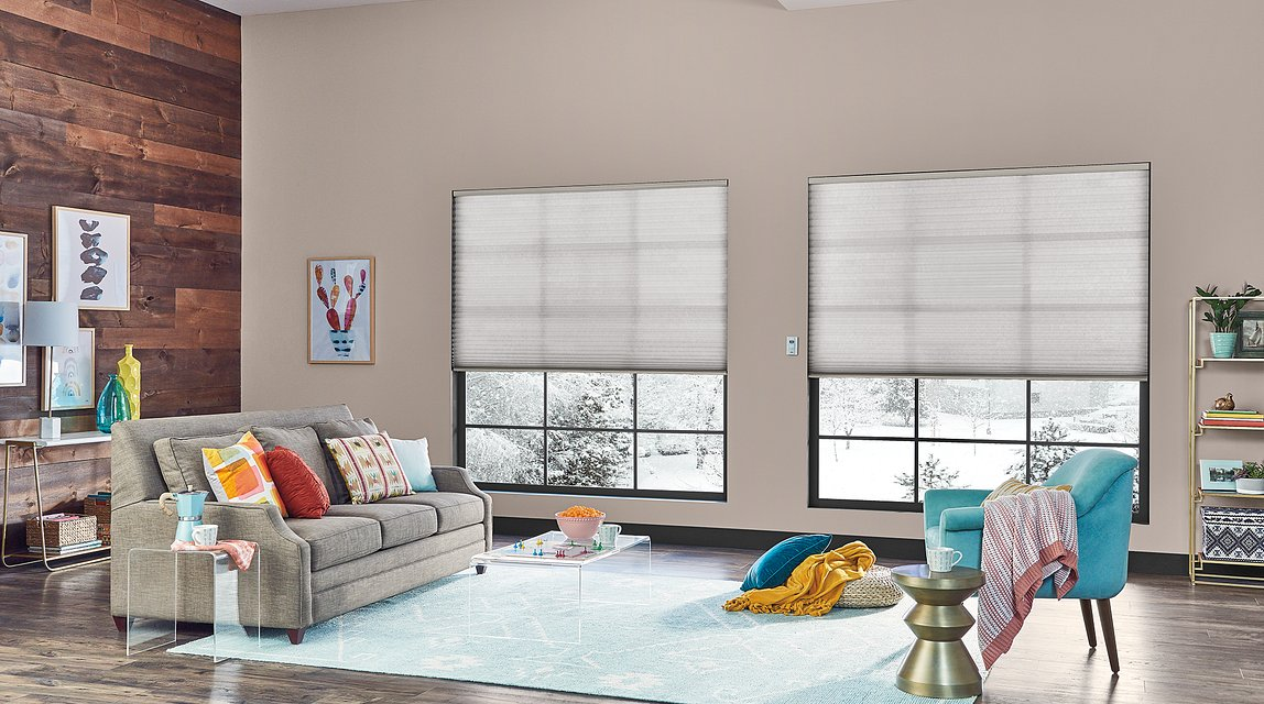 """1 1/4"""" Single Cell Cellular Shades with Motorized Lift: Halo, Gray Whisper 0120"""
