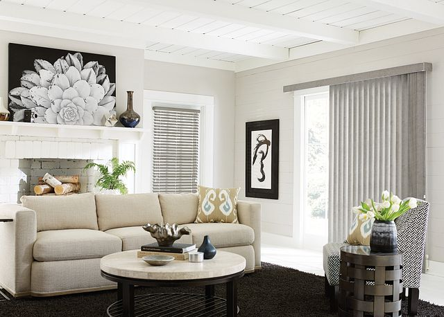 "S-Shaped Vinyl Vertical Blinds with Cord and Chain Control and Square Corner Valance: Buckskin, Creek 6648; 2"" Vinyl Horizontal Blinds with Cord Lift/Cord Tilt and Standard Valance: Buckskin, Creek 7103"