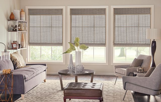 "Standard Roman Natural Shades with Motorized Lift: Trinidad, Owl 00846 with 1"" Edge Banding: Taupe 7008 and 9"" Standard Valance with Valance-Only Privacy Liner: Taupe 2659"