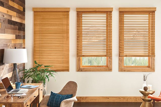 "2"" Wood Blinds with Cordless Lift/Wand Tilt: Sandcastle 1943 with 3 ½"" Premium Traditional Valance"