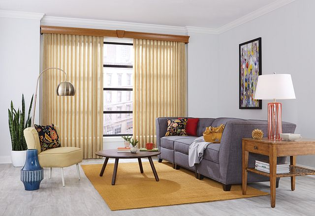 "Sheer Enchantment Vertical Blinds with Cord and Chain Control and Split Stack: Akbar, Oasis 2760 with 5 ½"" Regal Wood Cornice and Keystone: Maple 1039"