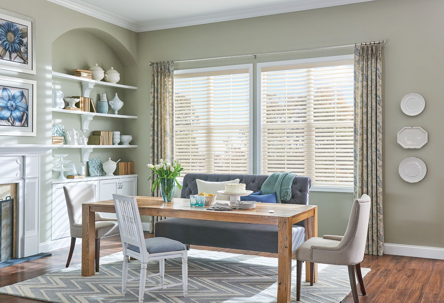"2"" Sheer Shades with Motorized Lift: Grafton Weave, Rattan 5183; Drapery with Pinch Pleats"