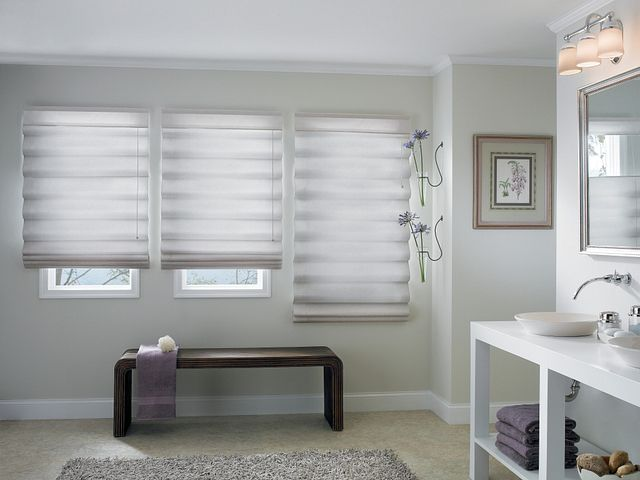 """Looped Roman Shades with Corded and 5 ½"""" Standard Valances: Ravish, Bisque 3420"""
