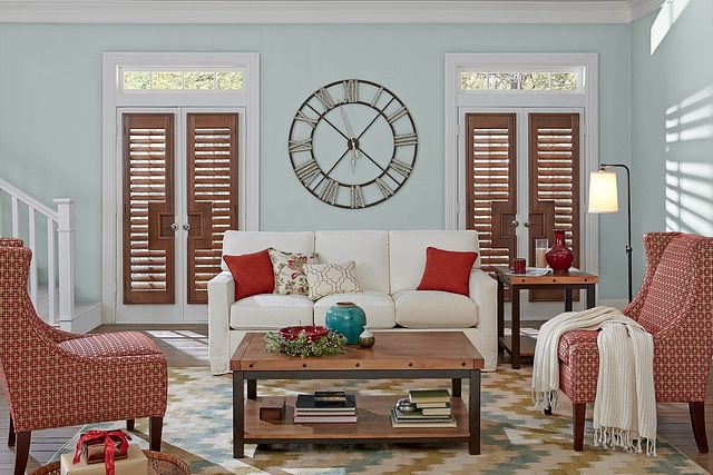 3½ Wood French Door Shutters with Rectangular Cut-Out, Colonial L-Frame, and Hide-A-Tilt™: Majestic Walnut 1041