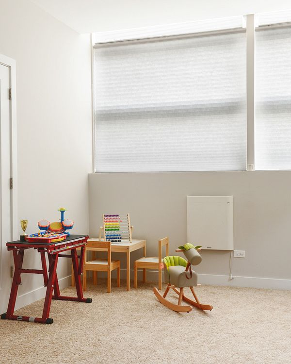 Motorized blinds in a children's playroom