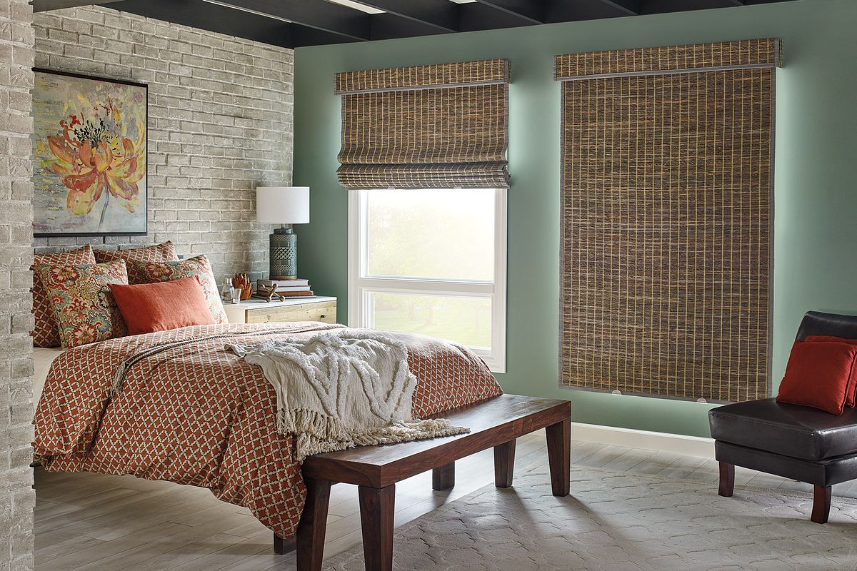 "Standard Roman Natural Shades with Cordless Lift: Lagoon, Cadet 85132 with Room-Darkening Liner: Cocoa 6297, 1"" Edge Banding: Mink Gray 7174, and 6"" Palisade Valance in Horizontal Orientation"
