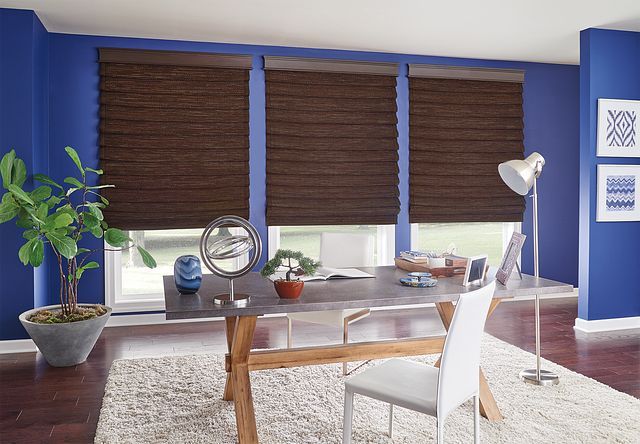 "Standard Looped Roman Natural Shades with Cord Lift: Papua, Clove 17512 with Privacy Liner: Cocoa 2297 and 2"" Edge Banding: Serpentine Cocoa 3003; 5½"" Noble Wood Cornice: Peppercorn 1054"