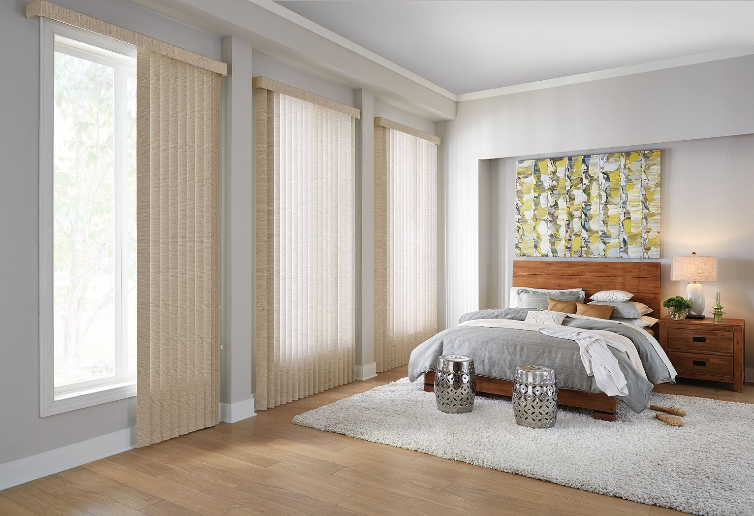 Fabric Vertical Blinds with Cord and Chain Control and Square Corner Valance: Keepsake, Golden Years 0172