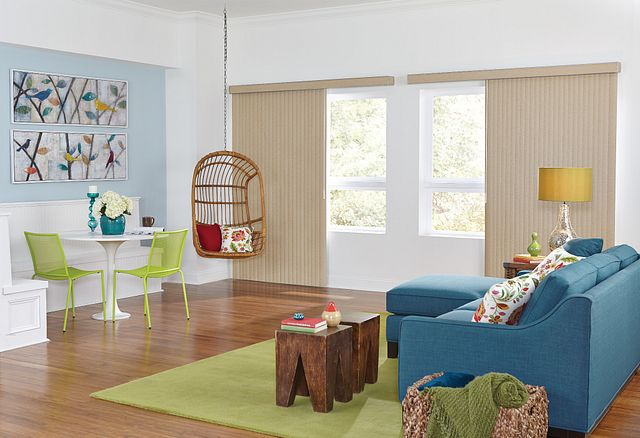 Crown Vinyl Vertical Blinds with One Touch Wand Control and Square Corner Valance: Quinn, Irish Oats 3897