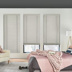 "2"" Wood Blinds with Cordless Lift/Wand Tilt: Grey Mist 1889 with 3"" Standard Valance and 1 ½"" Cloth Tapes: Coastal Fog C159"