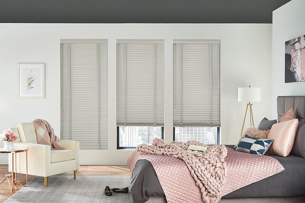 """2"""" Wood Blinds with Cordless Lift/Wand Tilt: Grey Mist 1889 with 3"""" Standard Valance and 1 1/2"""" Cloth Tapes: Coastal Fog C159"""