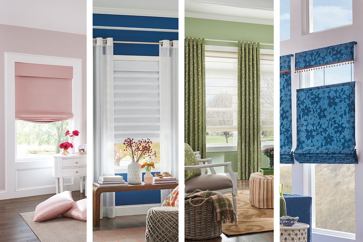 Four styles of Bali Roman Shades: Looped, Seamless, Flat and Relaxed