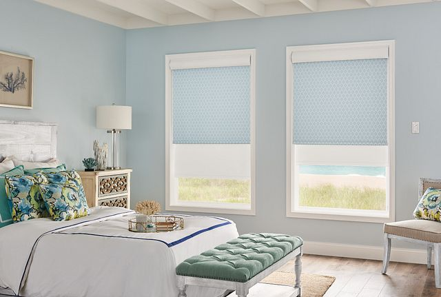 Dual Shades with Motorized Lift: Profile, Dockside 13504 (front) and Manhattan RD, White 11201 (back) with Cassette Valance Mult-Shade Remote