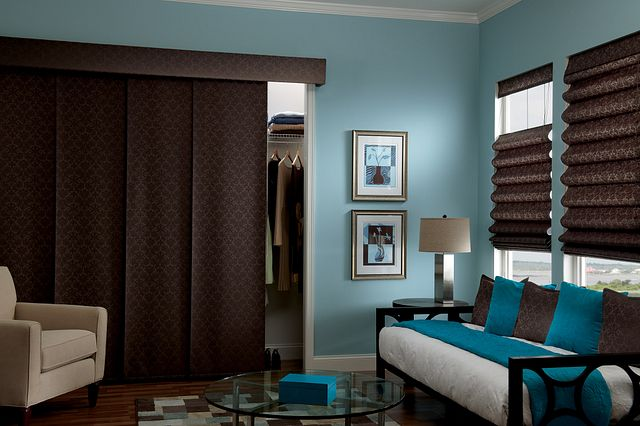 Looped Roman Shades with Corded Bottom Up/Top Down and Cut-yardage: 3261, Pillows: Damask, Cocoa 3261; Sliding Panels in Roman Fabric with Wand Control, Single Stack and Fabric-wrapped Cornice: Damask, Cocoa T3261