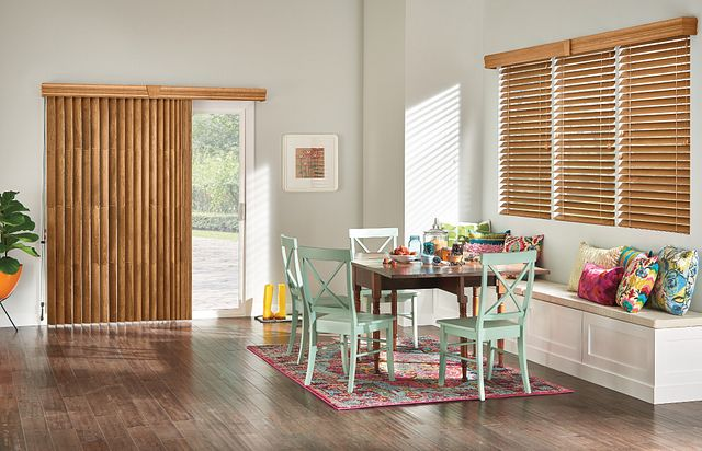 "Windows: 2 ⅜"" Wood Blinds with Cord Lift/Cord Tilt: Regal Oak 3038 with NoHoles, 4 ½"" Eloquence Valance and Keystone  Door: Wood Vertical Blinds with Cord and Chain Control: Regal Oak 1038 with 4 ½"" Eloquence Valance and Keystone"