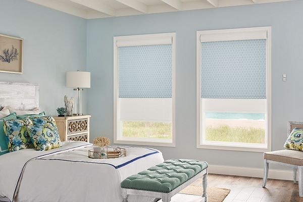 Dual Shades with Motorized Lift: Profile, Dockside 13504 (front) and Manhattan RD, White 11201 (back) with Cassette Valance