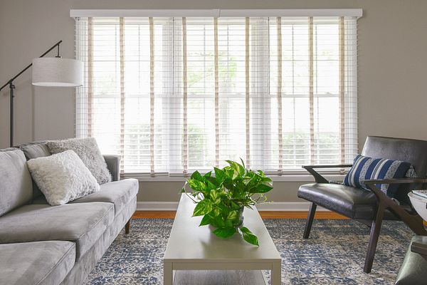 The beautifully decorated room with Bali Wood Blinds
