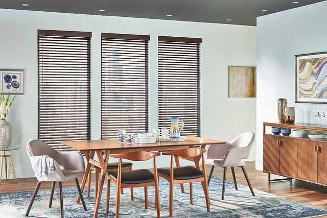 "2"" Wood Blinds with Cordless Lift/Wand Tilt: Chocolate Lava 1825 with 3 ½"" Modern Valance"