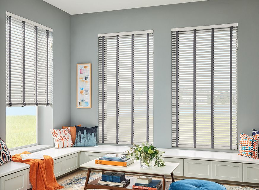 "2"" Horizontal Vinyl Blinds with Cord Lift/Wand Tilt and Standard Valance: Foundations Snow 7205 with 1½"" Cloth Tapes: Shadow Grey 2178"