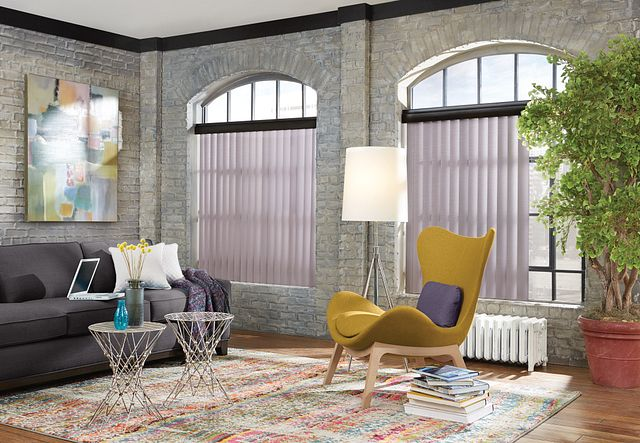 """Crown Vinyl Vertical Blinds with Cord and Chain Control: Estate, Frosted Grape 6800 with 3"""" Standard Wood Valance: Koala, 1761"""