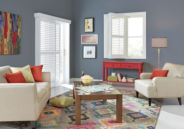 """Window: 2½"""" Wood Bifold Shutter with Standard Z-Frame, Divider Rail, and Standard Tilt: Picket Fence 1051 Door: 2½"""" Wood Bypass Shutters with 4½"""" Decorative Valance and Standard Tilt: Picket Fence 1051"""