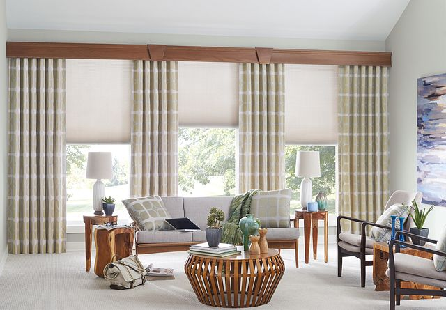 "Drapery with Back Tabs: Knox, Harbor 7040; ⅜"" Double Cell Cellular Shade with Cordless Lift: Northern Lights; 7 ½"" Noble Wood Cornice"