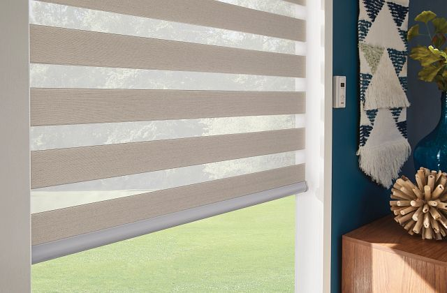 Close up of Layered Shades with Motorized Lift: Salty Air, Light Mist 4154