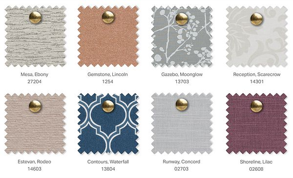 A selection of roller shade fabric swatches
