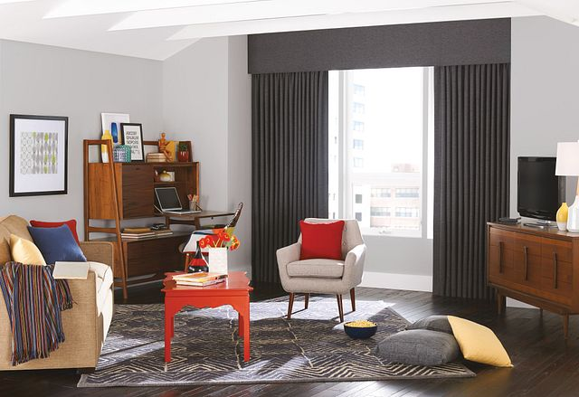 Drapery with Pinch Pleats: Wilston, Carbon 6590; Linear Fabric Cornice: Wilston, Carbon 6590
