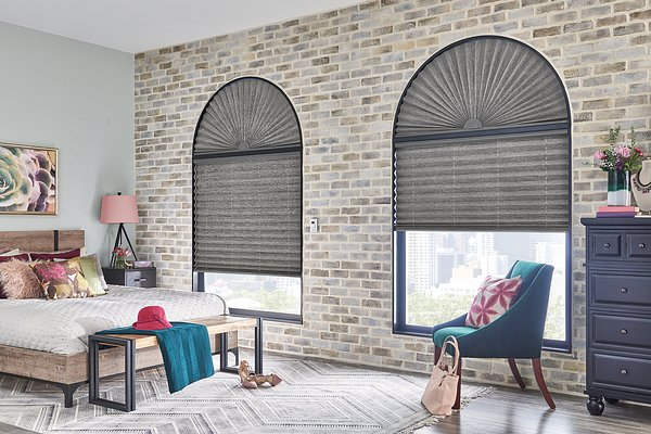 """Windows: 2"""" Pleated Shades with Motorized Lift: Rainforest, Horseshoe 2852 with Privacy Liner 8005. Arches: 2"""" Pleated Shades in Perfect Arch: Rainforest, Horseshoe 2852 with Privacy Liner 8005"""