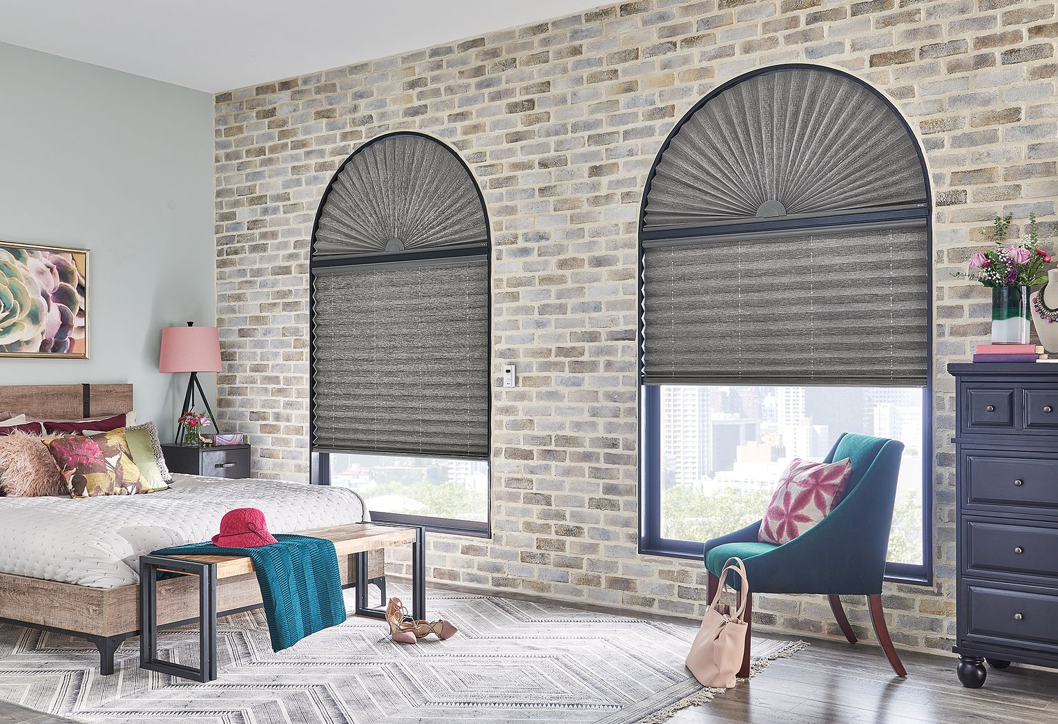 "Windows: 2"" Pleated Shades with Motorized Lift: Rainforest, Horseshoe 2852 with Privacy Liner 8005 Arches: 2"" Pleated Shades in Perfect Arch: Rainforest, Horseshoe 2852 with Privacy Liner 8005"