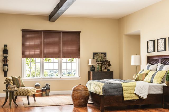"2"" Premium Faux Wood Blinds, three-on-one headrail with Cord Lift/Cord Tilt, NoHoles™ option and 2-1/2"" Standard Valance: Teriyaki 2694"