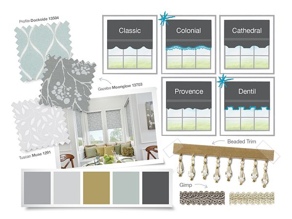A collage of colors and options available for Bali Roller Shades