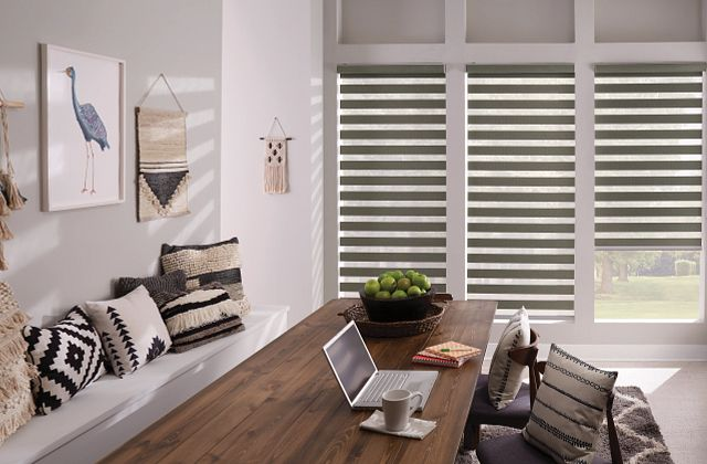 Layered Shades with Motorized Lift: Braided, Quiet Gray 4174