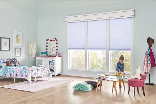 """1/2"""" Double Cell Cellular Shades with Cordless Lift: Hideaway, Fresh Lavender 1473 with 12"""" Fabric-Wrapped Curved Cornice"""