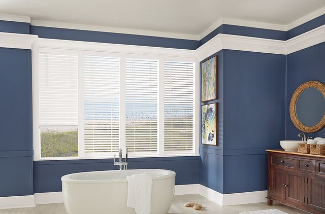 "2"" Bali Essentials Faux Wood Blinds with Cordless Lift/Wand Tilt: Coconut C630 and 3"" Standard Valance"